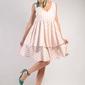 Biało różowa warstwowa zwiewna sukienka na szerokich ramiączkach