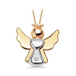 Staviori wisiorek. 1 diament, szlif brylantowy, masa 0,004 ct., barwa i, czystość i1. żółte, białe złoto 0,585. długość 12 mm.