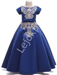 Chabrowa sukienka dla dziewczynki z złotym haftem 202