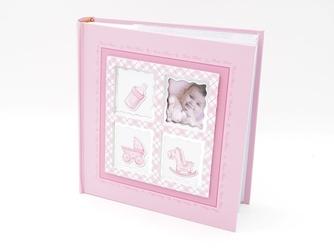 Album różowy butekla, wózek, konik i zdjęcie 10 x15 prezent na chrzest z grawerem - różowy