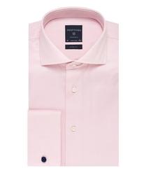 Elegancka różowa koszula męska taliowana, SLIM FIT z mankietami na spinki 39