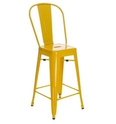 Stołek barowy paris back inspirowany tolix żółty - żółty