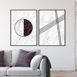 Zestaw dwóch plakatów - burgundy design , wymiary - 40cm x 50cm 2 sztuki, kolor ramki - biały