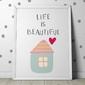 Life is beautiful - plakat dla dzieci , wymiary - 30cm x 40cm, kolor ramki - czarny