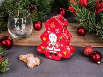 Puszka na ciasteczka i pierniki świąteczna altom design boże narodzenie choinka, dekoracja mikołaj 12,5 x 15 x 5 cm