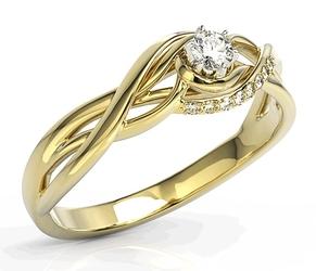 Pierścionek z żółtego złota z białym szafirem i brylantami bp-71z - żółte  szafir white