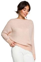 Bladoróżowy kimonowy sweter z kontrastowymi mankietami