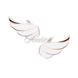 Srebrne 925 pozłacane kolczyki skrzydła z białą emalią - różowe złoto - biała  różowe złoto