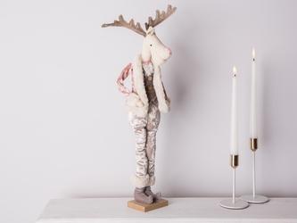 Dekoracja świąteczna  ozdoba pluszowa na boże narodzenie altom design łoś  renifer w różowym kożuszku chłopiec 50 cm stojący