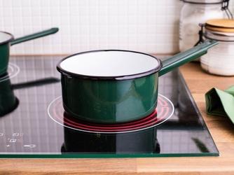 Rondel emaliowany silesia rybnik na gaz i indukcję z trzonkiem ciemny zielony 1,5 l