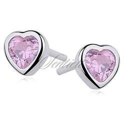 Srebrne kolczyki serca pr.925 cyrkonia różowa serce - jasnoróżowa