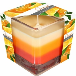 Bispol, świeca zapachowa trójkolorowa w szkle, pomarańcza, 1 sztuka