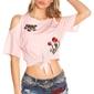 Koszulka z odkrytymi ramionami i naszywkami z kwiatowym haftem, jasny róż