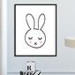 Cute rabbit - plakat dla dzieci , wymiary - 20cm x 30cm, kolor ramki - czarny