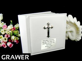 Album Biały Skóra Krzyż Dedykacja Chrzest Grawer