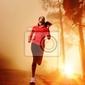 Plakat sunrise działa kobieta