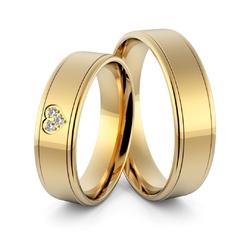 Obrączki ślubne z sercem i brylantami - au-974