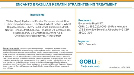 Encanto do brasil treatment keratyna do prostowania włosów 236ml