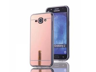 Etui lustrzane mirror gel samsung galaxy j1 2016 różowe + szkło - różowy