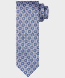 Szary krawat jedwabny w kwiatowy wzór