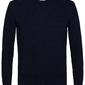 Elegancki granatowy sweter w prążek z grubym ściągaczem l