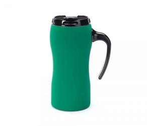 Kubek termiczny z rączką fluo 450 ml gumowany zielony