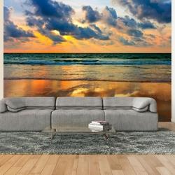 Fototapeta - kolorowy zachód słońca nad morzem