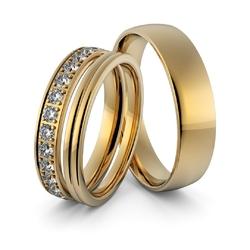 Obrączki ślubne z brylantami - zestaw obrączek - au-947