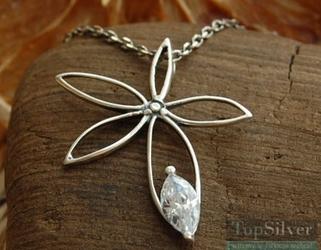 whiteGRASS - srebrny wisiorek z kryształem Swarovskie