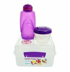 Zestaw Sistema Lunchbox Kostka Max 2l plus butelka 385 ml, fioletowy