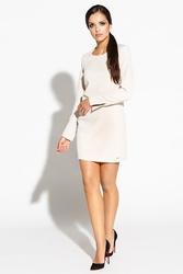 Beżowa prosta sukienka z rozciętymi długimi rękawami
