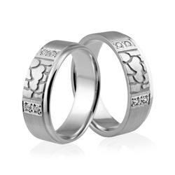 Obrączki srebrne z sercami i kamyczkami - wzór ag-321