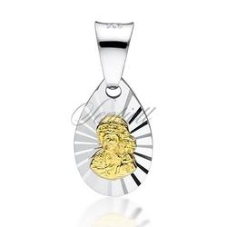 Srebrny medalik matka boska częstochowska - złoty