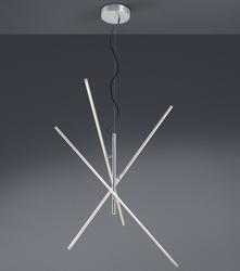Szeroka lampa wisząca do salonu tiriac nikiel