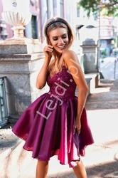Koronkowa sukienka z organzową spódnicą emo francesca, bordo