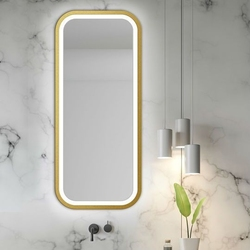 Prostokątne lustro mira light z oświetleniem led z ramą w kolorze złotym
