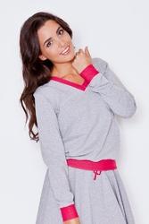 Szaro-różowa dresowa nierozpinana bluza z dekoltem v z kontrastowymi mankietami