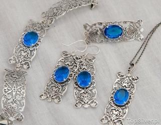 Casablanca - srebrny komplet z akwamarynem