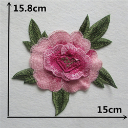 NASZYWKA APLIKACJA kwiat duża RÓŻA różowa