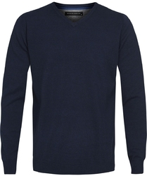 Granatowy bawełniany sweter  pulower v-neck L