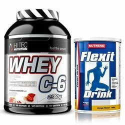 HI-TEC Whey C6 Vip Edition - 2500g + Nutrend Flexit Drink - 400g - Brown Sugar Cookies  Strawberry