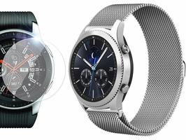 Bransoleta Milanese pasek stalowy Samsung Gear S3  watch 46mm srebrny + Szkło - Srebrny
