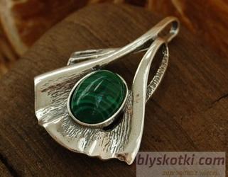 ELENA - srebrny wisior z malachitem