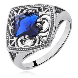 Srebrny pierścionek pr.925 Cyrkonia szafirowa
