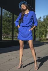 Chabrowa Codzienna Komfortowa Sukienka Sznurowana przy Dekolcie