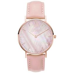 Zegarek damski pasek skóra tarcza melanż różowy - różowy