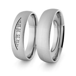 Obrączki ślubne klasyczne z białego złota niklowego 5 mm z brylantami - 93