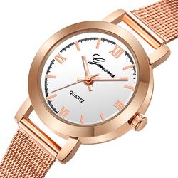 Zegarek damski GENEVA MESH różowe złoto biały - rose gold white