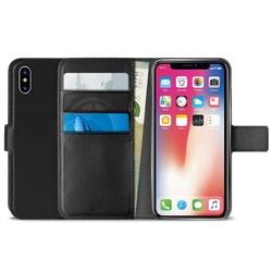 PURO Booklet Wallet Case - Etui iPhone X z kieszeniami na karty + stand up czarny