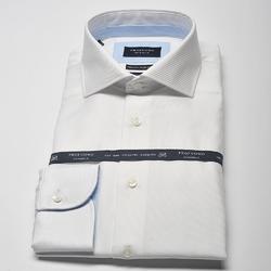 Elegancka biała koszula męska taliowana SLIM FIT z błękitnymi wstawkami 38